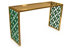 "Taylor Burke Home, Kings Grant Brass Console - frame, brass; fretwork, sustainable birch wood; top, acrylic  52""W x 18""D x 31""H  1899 - orig. 3800"