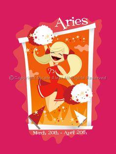 Aries - Retro Zodiac Magnet. $3.00, via Etsy.