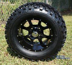 "12"" STALKER Golf Cart Wheels and 23"" All Terrain Golf Cart Tires Combo   Golf Cart Tire Supply Golf Cart Wheels, Golf Cart Tires, Wheels And Tires, Lifted Golf Carts, Golf Cart Accessories, All Terrain Tyres, Lift Kits, Aluminum Wheels"