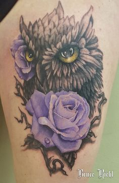 realistic purple rose and owl done by Bruce Riehl