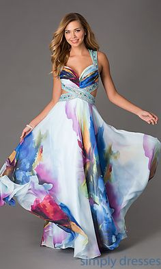 Floor Length Floral Print Dress by Dave and Johnny at SimplyDresses.com