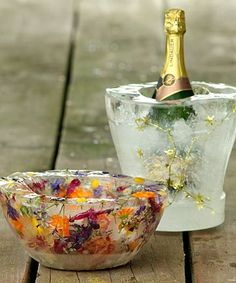 Seasonal Ice Bowls with Autumn Leaves or Green Spruce to Chill Champagne.