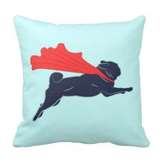 A minimalist vector design featuring a super pug flying with a cute red cape. A great gift for fans of pugs, dogs, super hero canines and vector art. Pug Pillow, Pillow Talk, Pillow Cases, Pugs, Pug Puppies, Funny Puppies, Pug Love, My New Room, Custom Pillows