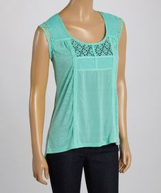 Look what I found on #zulily! Mint Crochet Cap-Sleeve Top #zulilyfinds @ Simply irresistible.