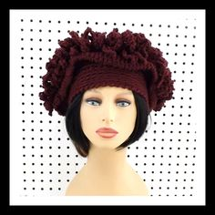 Crochet Hat Womens Hat LINDA Crochet Cloche Hat Steampunk Hat African Hat Aubergine Hat by strawberrycouture on Etsy 45.00 USD