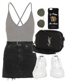 """""""Untitled #1507"""" by morggz ❤ liked on Polyvore featuring Topshop, M&Co, Yves Saint Laurent, adidas, Gucci and Ray-Ban"""