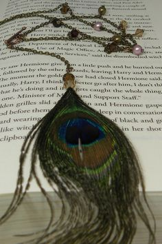 Peacock Feather necklace with Swarovski crystals and pearls