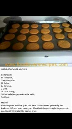 Gemmerkoekies - World Cuisine Audition Baking Recipes, Cookie Recipes, Dessert Recipes, Candy Recipes, Kos, Delicious Desserts, Yummy Food, Biscuit Recipe, Sweet Recipes