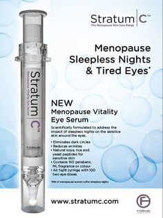 Sleepless nights can take their toll on your eyes. Stratum C Vitality Eye Serum can help... #darkcircles #menopause #beautysleep