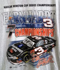 Dale Earnhardt 7 Championships T-Shirt Adult L Large New with Tags NASCAR #3 #CompetitorsView