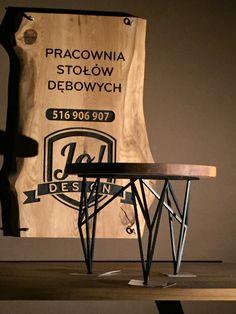 Stoliczek okrągły średnica 60 cm. Blat drewniany dębowy. Wykonanie projekt Grzegorz Zamykal stal Zwierzak. Pracownia stołów dębowych Bytom 41-902 Łagiewnicka 9/1 516-906-907
