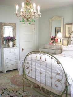 Pretty Shabby Chic Bedroom in Pastel Colors. Love~ #shabbychicbathroomscolors