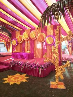 For outdoor wedding function wedding stage decorations kevin manno ali fedotowsky s wedding Desi Wedding Decor, Wedding Hall Decorations, Marriage Decoration, Wedding Mandap, Flower Decorations, Wedding Events, Wedding Themes, Umbrella Decorations, Wedding Dresses