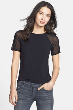 Mesh Inset Short Sleeve Tee in black by Halogen $54 - $20 @HauteLook.  - Raglan sleeves and stripe inset down the back of a jersey tee. - 49% rayon, 26% lyocell, 18% cotton, 7% spandex with 80% nylon, 20% spandex mesh - Machine wash cold, dry flat. XS=2, S=4-6, M=8-10, L=12-14.
