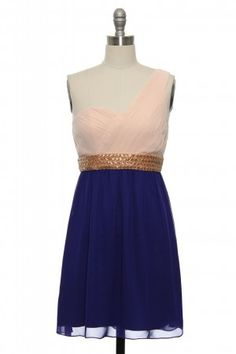 Rose Gold and Indigo. Pretty close! I'm wary of the one-shoulder trend but can't resist the colors!