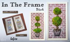 """Another """"In The Frame"""" post and another frame makeover. This time the story involves 2 castaway frames that I found last summer at Put&Take. These twin sis… Easy Craft Projects, Easy Crafts, Projects To Try, Craft Ideas, Homemade Chalk Paint, Mirrored Picture Frames, Craft Club, Diy Frame, Garden Crafts"""