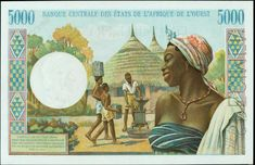 Francs 's Banknote (Back) Pick Date: 1965 African States, Money Bill, Old Money, Ivory Coast, East Africa, History, Artwork, Painting, Coins
