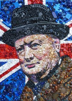 One man's junk is another's treasure: Obama, Churchill and Einstein as you've never seen them before -  This artist doesn't mind if critics class her work as rubbish. Jane Perkins, from Exeter, creates colourful portraits of famous faces from broken jewellery, buttons and toy parts.