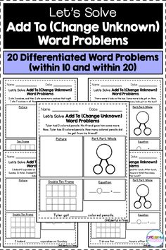 "20 differentiated missing part word problems! There are 10 missing part word problems within 10 and 10 missing part word problems within Additionally, there are 5 ""part, part, whole"" mats to use with these word problems. Perfect for small math groups, Math Worksheets, Learning Resources, Math Activities, Teacher Resources, Classroom Resources, Teaching Math, Creative Teaching, Teaching Ideas, Maths"