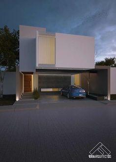 FACHADA PRINCIPAL: Casas de estilo minimalista por FERAARQUITECTOS #casasmodernas