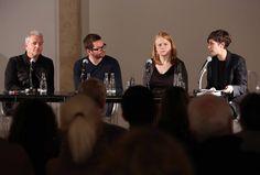 """DER ÖFFENTLICHKEIT, Talk """"The Present Moment"""", with Alexander Liebreich, Anri Sala, Bridget McRae, and Patrizia Dander, Haus der Kunst, 06.11.14, photo Marion Vogel"""