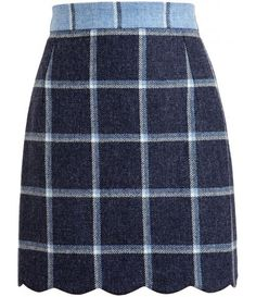 Scalloped Plaid Skirt
