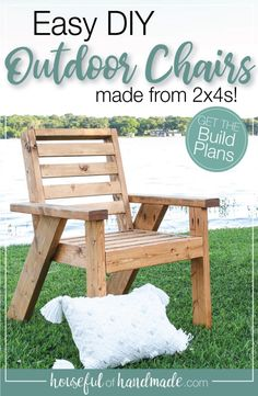 Get ready for outdoor living with these outdoor lounge chairs. The easy to build outdoor chairs are made mostly of of 2x4s and create a strong, sturdy chair for lots of outdoor fun. Get the build plans today at Housefulofhandmade.com! Outdoor Furniture Plans, Diy Furniture Plans Wood Projects, Furniture Ideas, Barbie Furniture, Garden Furniture, Furniture Design, Diy Patio Furniture 2x4, Homemade Outdoor Furniture, Wood Chair Design