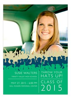 Throw your hats up for this bold graduation photo announcement.
