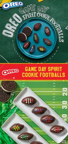 Get ready to score a snackerception with these touchdown-ready OREO Game Day Spirit Cookie Footballs! We're calling an audible on OREO cookie balls with our fresh Big Game recipe playbook. Just finely crush OREO cookies and mix together with cream cheese. Football Cookies, Football Party Foods, Football Food, Game Day Snacks, Game Day Food, Super Bowl, Chocolate Footballs, Sports Food, Snack Recipes