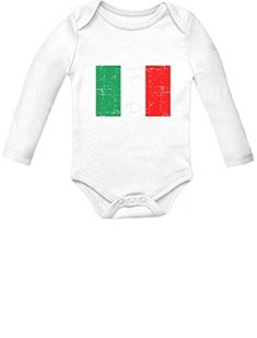 651ed7736a5 Italy Flag Vintage Style Retro Italian Infant Baby Long Sleeve Bodysuit  Newborn White    For more information
