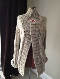 Hand Knit Beige   Cardigan Sweater by kreativknits on Etsy, $98.00
