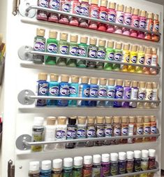 Paint organizing cabinet door - this is genius! So simple to do, and your paints are neatly lined up and all visible. MUST DO - best paint organization I've seen so far! (this would be so easy to do and perfect since I have cabinets to store my supplies) Craft Paint Storage, Paint Organization, Studio Organization, Space Crafts, Home Crafts, Craft Space, Craft Room Design, Ideas Para Organizar, The Design Files