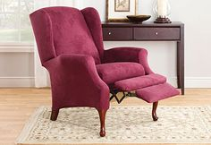 Merveilleux Sure Fit Slipcovers Stretch Suede Wing Recliner   Wing Recliner