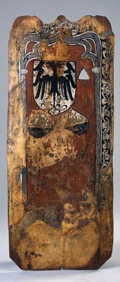 Sturmwand. Setzschild für Armbrustschützen. Mit Reichsschild und Zürcher Wappen. Um 1440. Masse Gesamtobjekt: Höhe 195.5 cm, Breite 82.5 cm. (KZ-382)