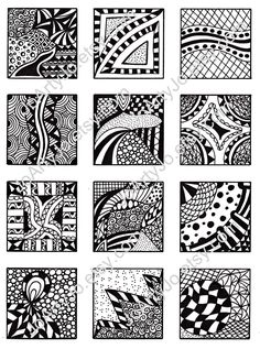 Digital Collage Sheet, Abstract Black and White Images, Zentangle Inspired Art, PDF for Scrapbooking, Jewelry Making, Pendants, Sheet 1. $3.00, via Etsy.