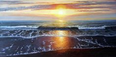 ARTFINDER: Evening Waves (panoramic) by Oleg Riabchuk - Impressionistic seascape.  Evening, sun rays lies on sea waves. Oil on box canvas Size: 140cmx70cm The painting is ready to hang, and comes with a Certifi...