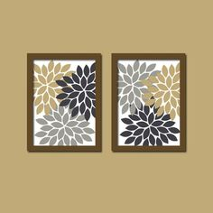 Bold Colorful Navy Tan Gray Beige Floral Flower Burst Set of 2 Prints Wall Decor Abstract Art Bedroom Bathroom Nursery Picture Crib