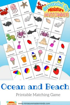 Ocean and Beach themed printable matching game for toddlers and preschoolers.