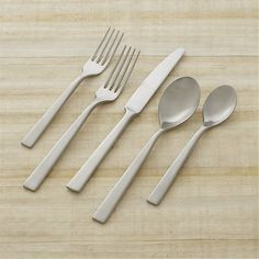 Sale ends soon. A bold, modern flatware statement. The simple design features slender shapes, rounded bowls and a chic brushed finish. Slightly concave top surfaces reflect the light. Black Dinnerware, Stoneware Dinnerware, Dinnerware Sets, Modern Flatware, Flatware Set, Cutlery, Silverware Place Setting, Place Settings, Crate And Barrel