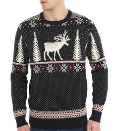 Navy Reindeer Crew Neck Jumper #happychristmas #giftsforgeezers