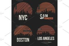 Set of t-shirt designs with us cities silhouettes by rikkyal on @creativemarket
