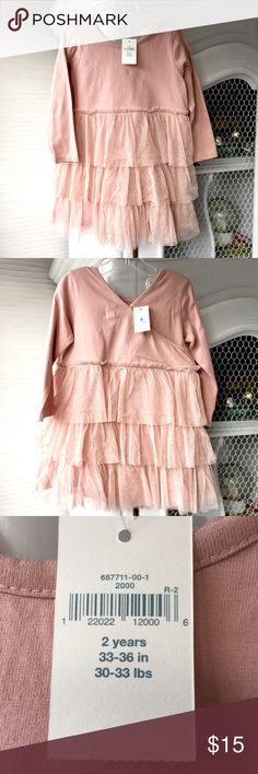 NWT BABY GAP TODDLER GIRL DRESS.  2T 2 years NEW with tags.  Lined tulle layered tiered bottom with sparkle.  .  Deep blush pink/ dusty rose color.  NEVER WORN. GAP Dresses