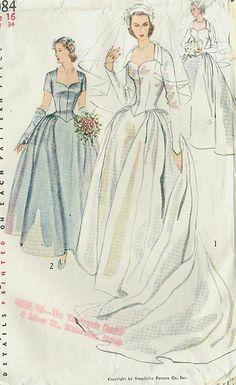 Vintage Wedding Dress Patterns Fit New Ideas - Wedding Dresses Wedding Dress Patterns, Vintage Dress Patterns, Vintage Dresses, Vintage Outfits, Retro Fashion, Vintage Fashion, Gown Pattern, Moda Vintage, Retro Vintage