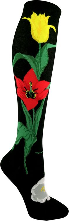 Knee-high tulips socks with beautiful yellow, red and white tulip flowers.