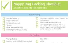 What to pack in a nappy bag/diaper bag