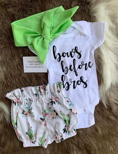 Cactus baby girl bloomer with matching oversized self tied head wrap and bodysuit/ bows before bros, birthday outfit,going home outfit - Baby Boy Names Baby Girl Names Baby Girl Bows, Baby Girl Names, Cute Baby Girl, Cute Babies, Baby Kids, Baby Baby, Baby Girl Stuff, Boy Names, Baby Girl Gifts