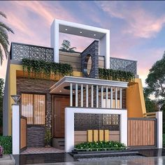 Village House Design, Bungalow House Design, House Front Design, Village Houses, Small House Design, Modern House Design, Modern Houses, Model House Plan, Dream House Plans