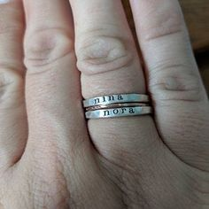 Suzanne added a photo of their purchase Personalized Christmas Gifts, Personalized Rings, Stackable Name Rings, Soldering Techniques, Mom Ring, Mixed Metals, Hand Stamped, Gifts For Mom, Handmade Jewelry
