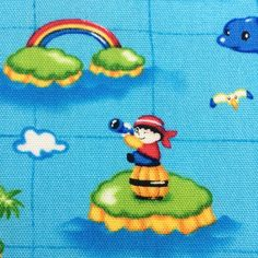 1 Meter- Kokka Fabric-  Sea Pirates in Blue Background- Mid Weight Cotton -  Made in Japan on Etsy, $28.25