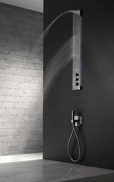 Obliqua, shower column by Roberto Innocenti for Zazzeri _ Shower Faucet, Bathroom Faucets, Bathroom Interior, Modern Bathroom, Design Bathroom, Spa, Shower Panels, Interior Decorating, Interior Design